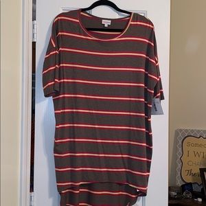Brown, yellow and pinkish red striped top
